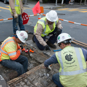 City engineers working on the street.