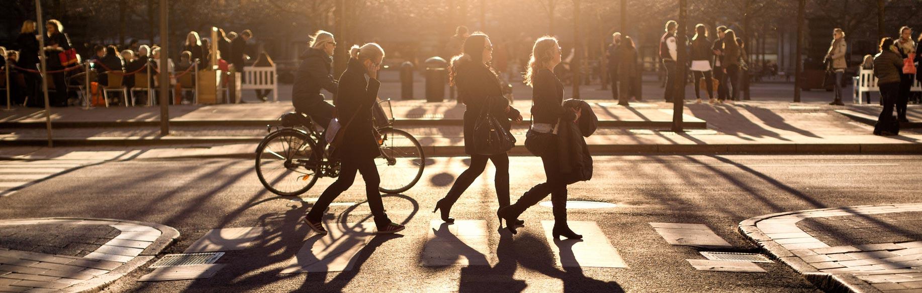 Vision Zero in Sweden. Pedestrians Crossing the Street.